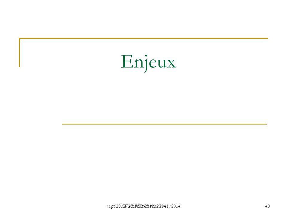 Enjeux CP - février 2011/2014 sept 2012/2015CP - février 2011/2014