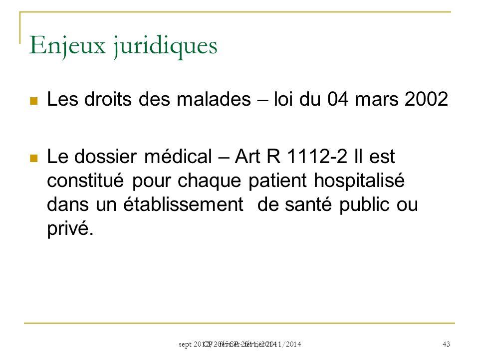 Enjeux juridiques Les droits des malades – loi du 04 mars 2002