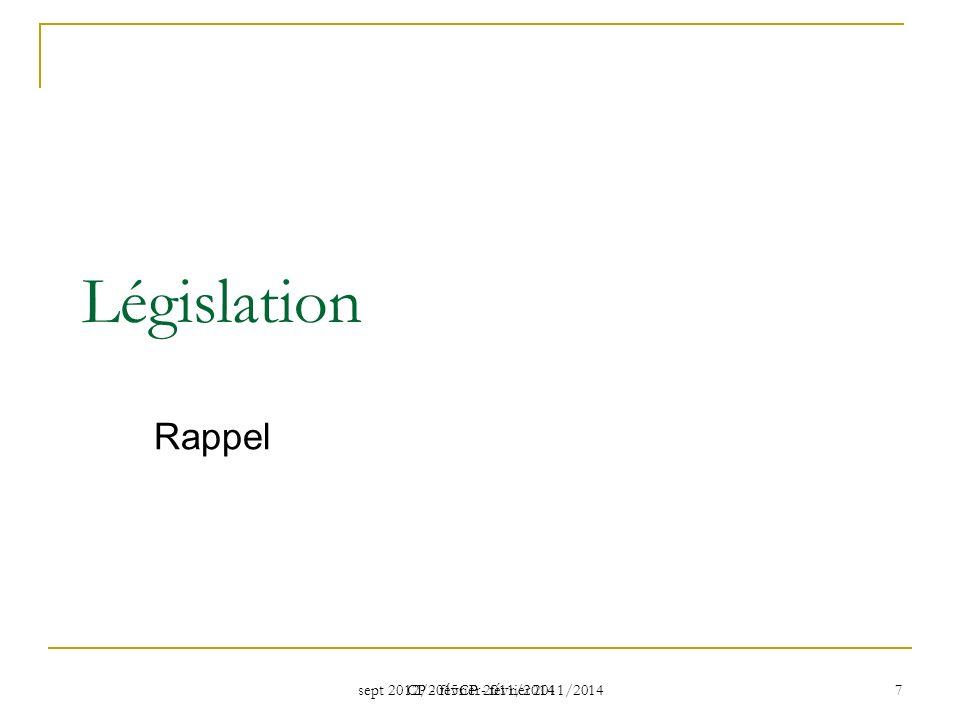 Législation Rappel CP - février 2011/2014