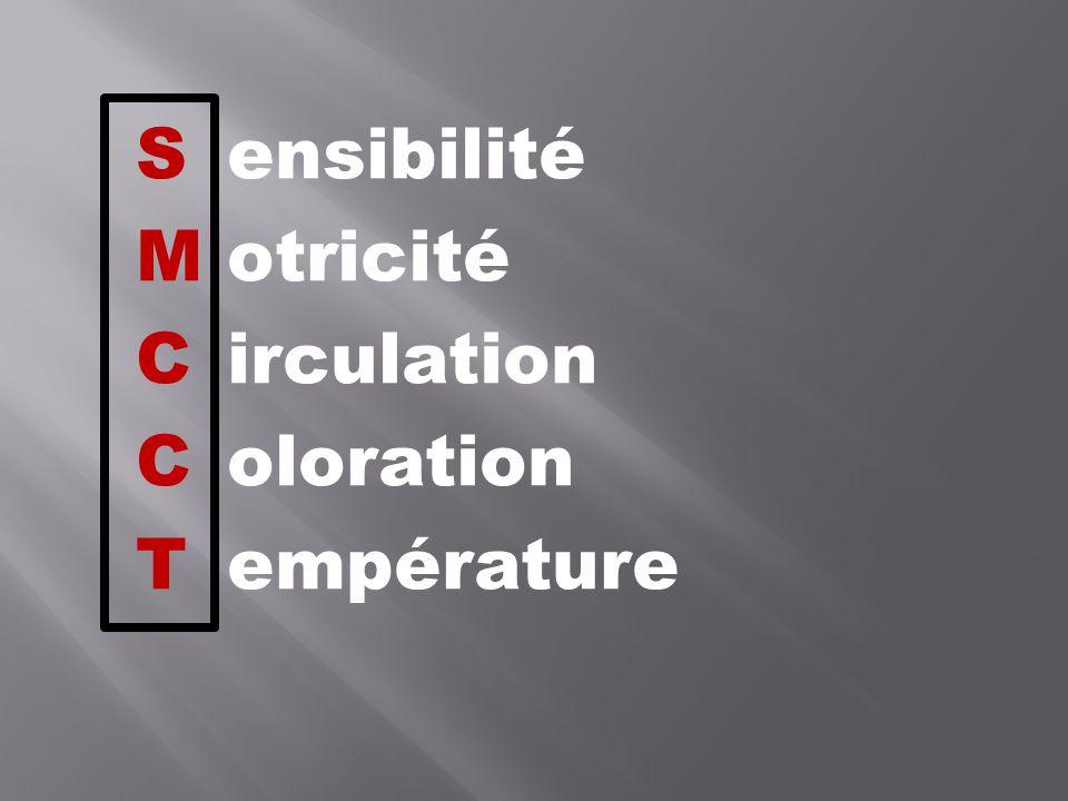 S ensibilité M otricité C irculation C oloration T empérature