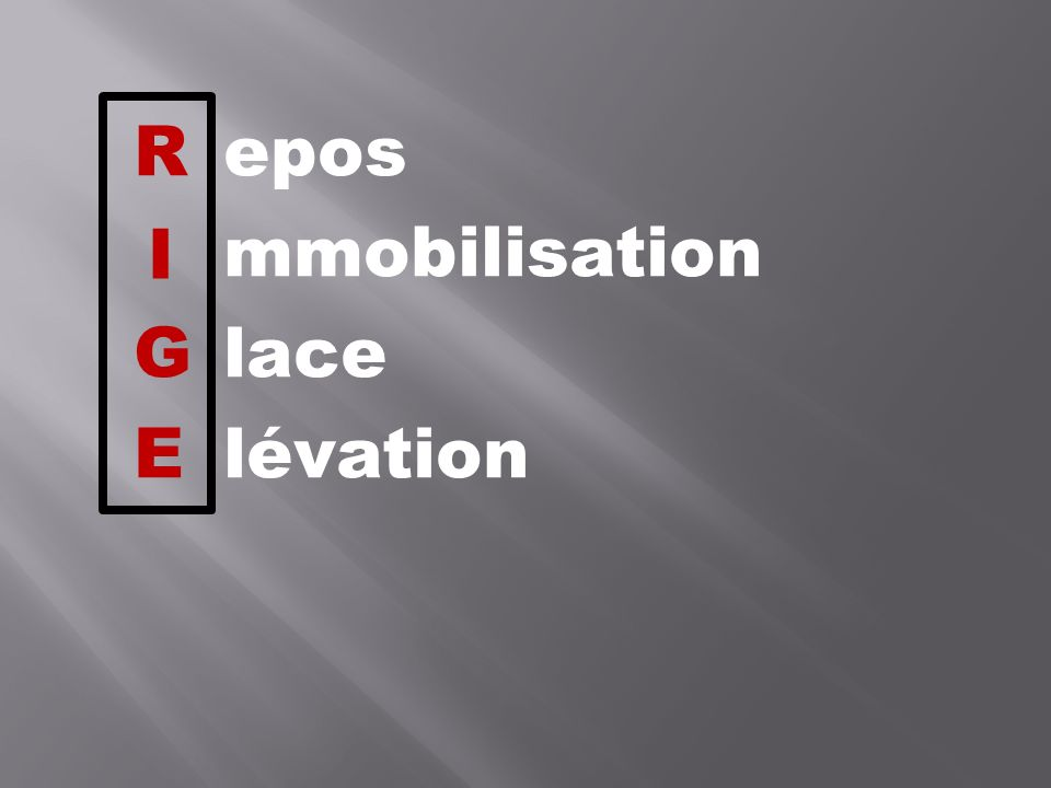 R epos mmobilisation G lace E lévation