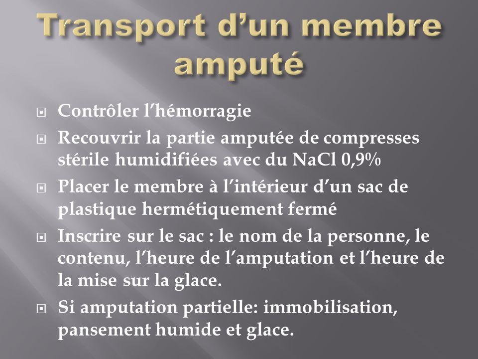 Transport d'un membre amputé