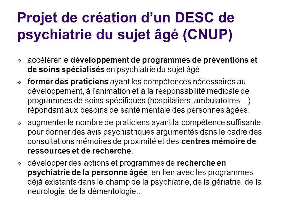 Projet de création d'un DESC de psychiatrie du sujet âgé (CNUP)