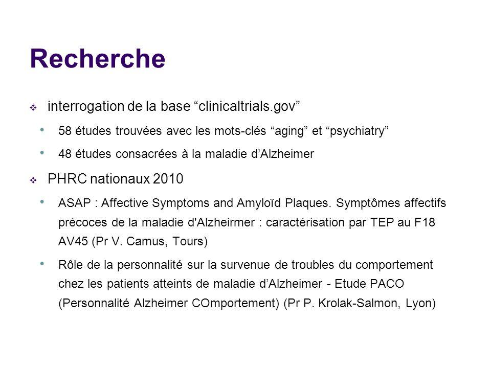 Recherche interrogation de la base clinicaltrials.gov
