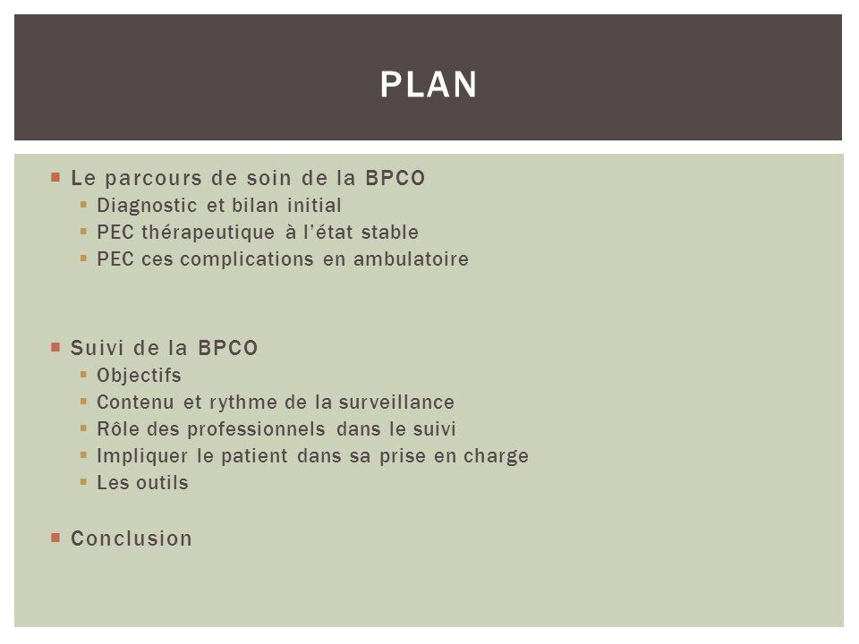 Plan Le parcours de soin de la BPCO Suivi de la BPCO Conclusion