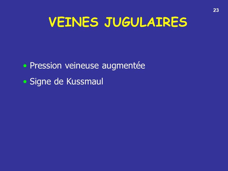 23 VEINES JUGULAIRES Pression veineuse augmentée Signe de Kussmaul