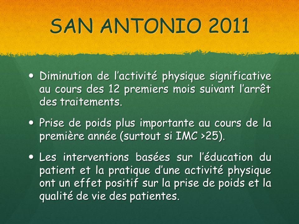 SAN ANTONIO 2011 Diminution de l'activité physique significative au cours des 12 premiers mois suivant l'arrêt des traitements.
