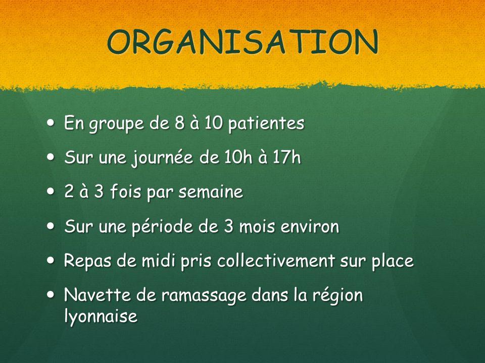 ORGANISATION En groupe de 8 à 10 patientes