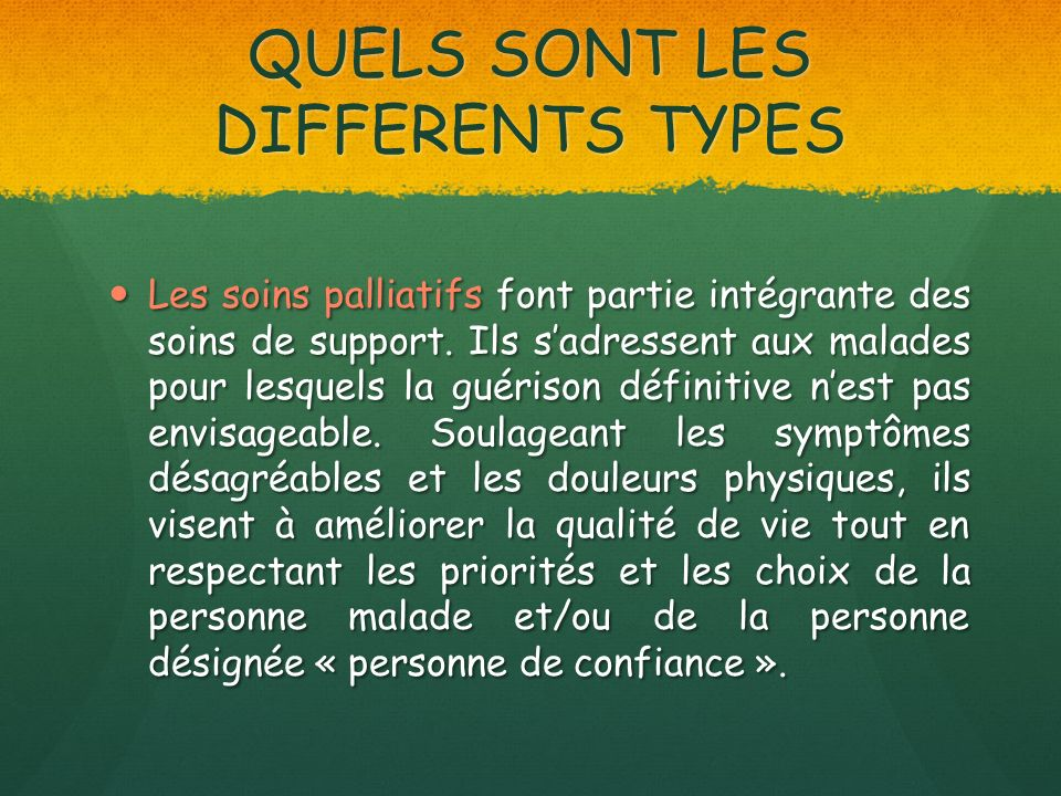 QUELS SONT LES DIFFERENTS TYPES