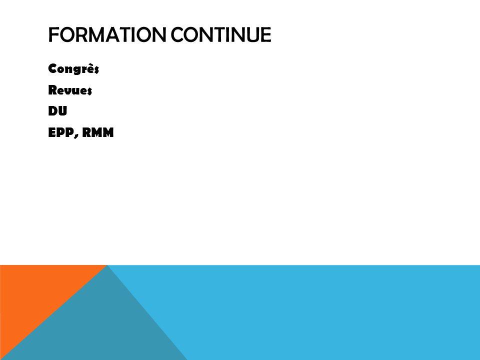 Formation continue Congrès Revues DU EPP, RMM