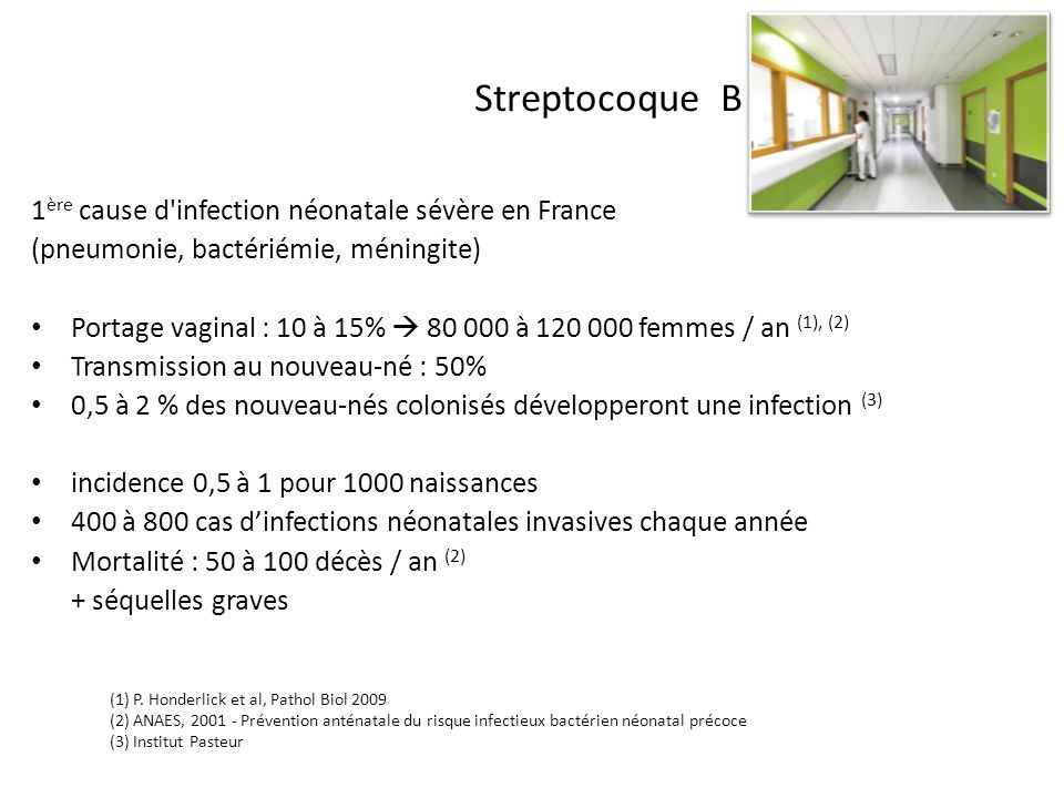 Streptocoque B 1ère cause d infection néonatale sévère en France