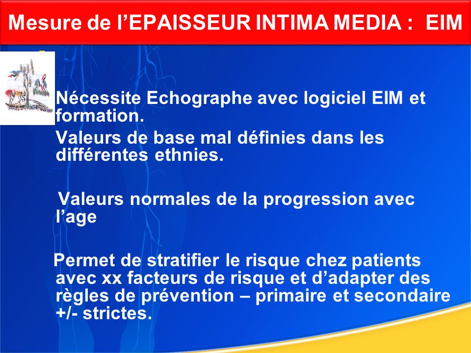 Mesure de l'EPAISSEUR INTIMA MEDIA : EIM