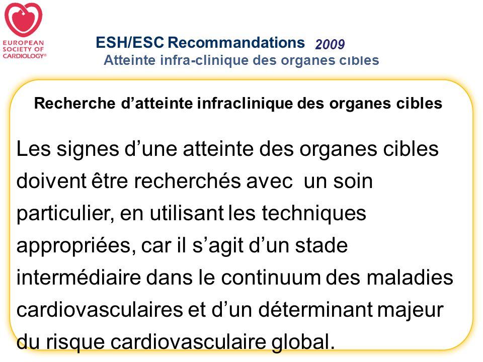 ESH/ESC Recommandations 2007- 2009 Atteinte infra-clinique des organes cibles