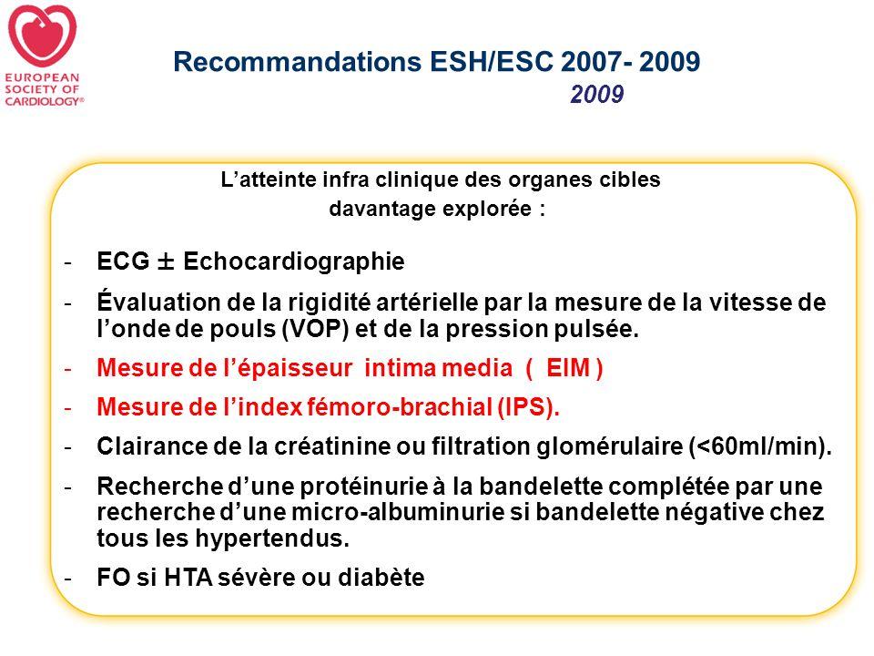 Recommandations ESH/ESC 2007- 2009