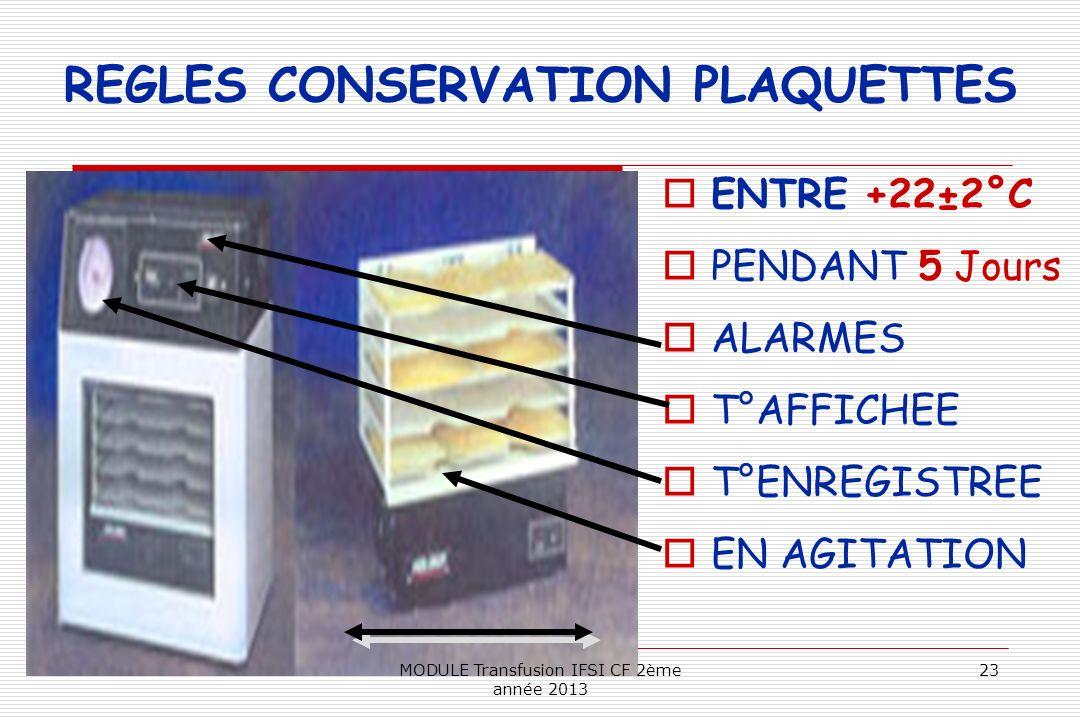 REGLES CONSERVATION PLAQUETTES