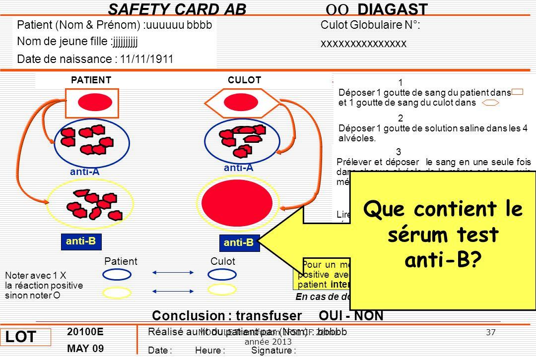 Que contient le sérum test anti-B