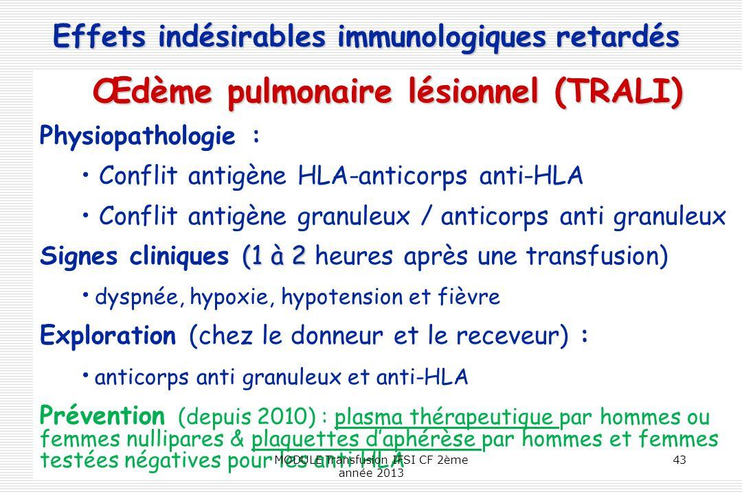 Œdème pulmonaire lésionnel (TRALI)