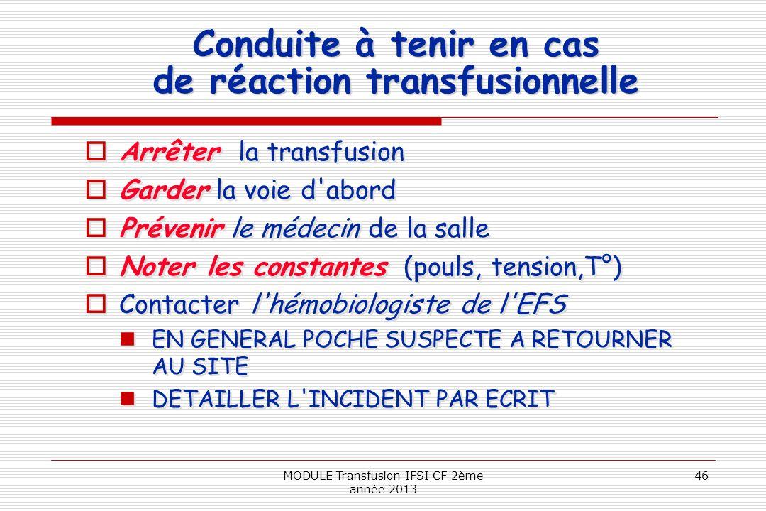 Conduite à tenir en cas de réaction transfusionnelle