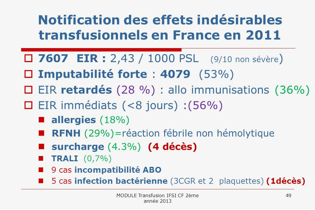 Notification des effets indésirables transfusionnels en France en 2011