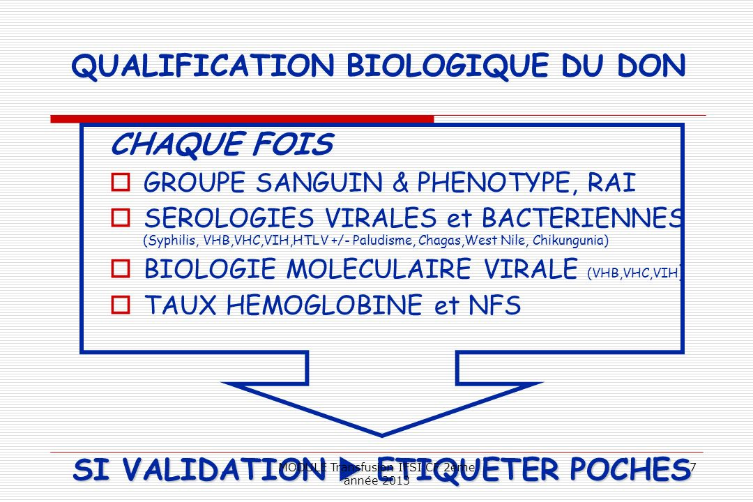 QUALIFICATION BIOLOGIQUE DU DON