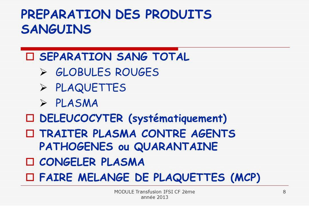 PREPARATION DES PRODUITS SANGUINS