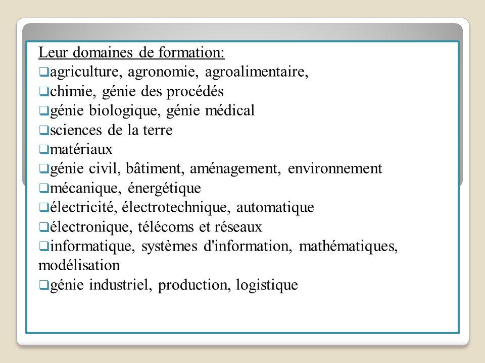 Leur domaines de formation: