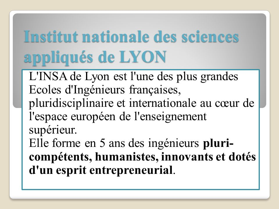 Institut nationale des sciences appliqués de LYON