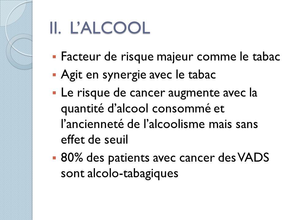 II. L'ALCOOL Facteur de risque majeur comme le tabac