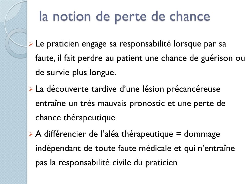 la notion de perte de chance
