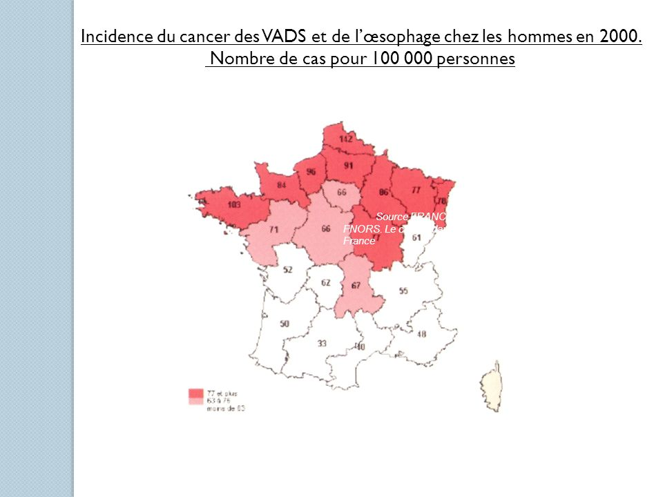 Incidence du cancer des VADS et de l'œsophage chez les hommes en 2000.