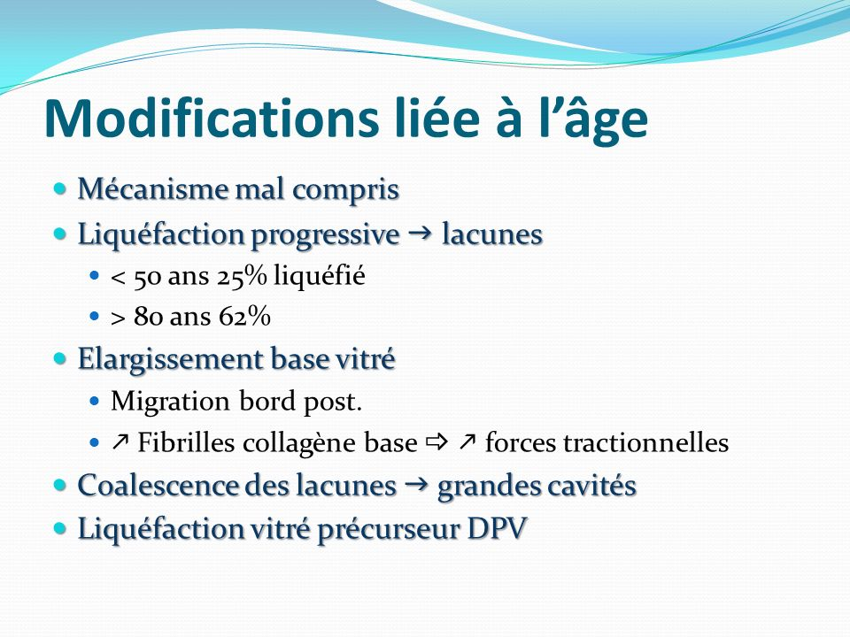 Modifications liée à l'âge