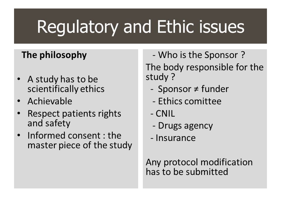Regulatory and Ethic issues