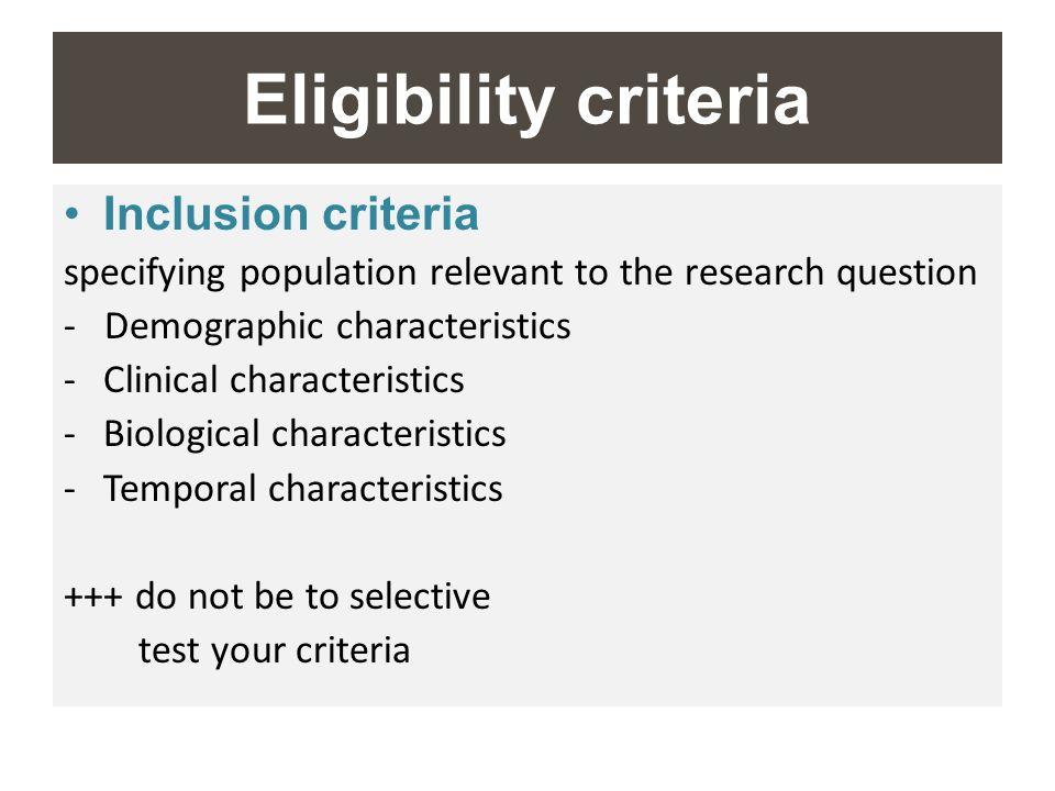 Eligibility criteria Inclusion criteria