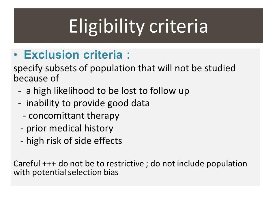 Eligibility criteria Exclusion criteria :