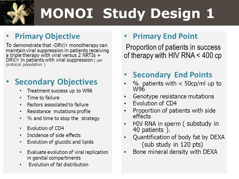 MONOI Study Design 1 Primary Objective.