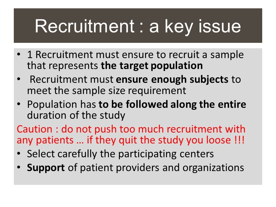 Recruitment : a key issue