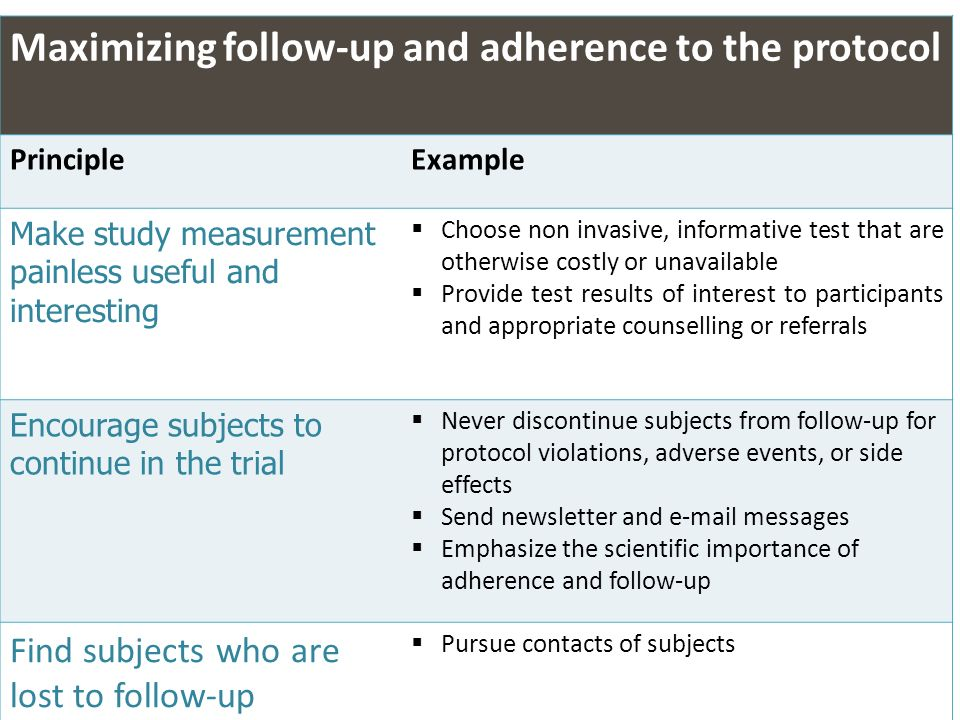 Maximizing follow-up and adherence to the protocol
