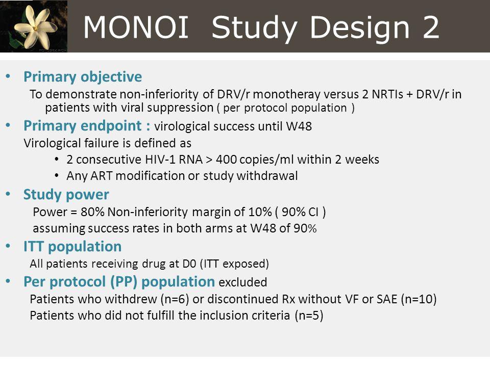 MONOI Study Design 2 Primary objective