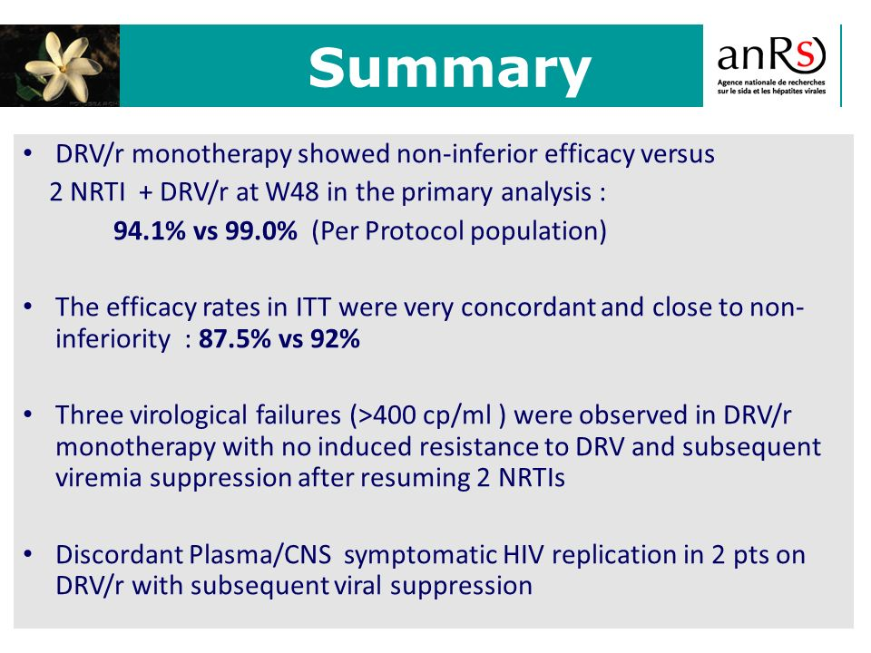 Summary DRV/r monotherapy showed non-inferior efficacy versus