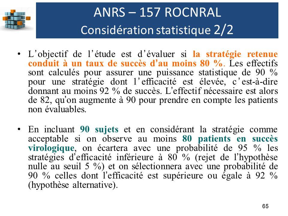 ANRS – 157 ROCNRAL Considération statistique 2/2
