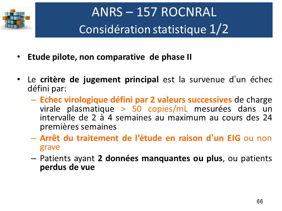 ANRS – 157 ROCNRAL Considération statistique 1/2