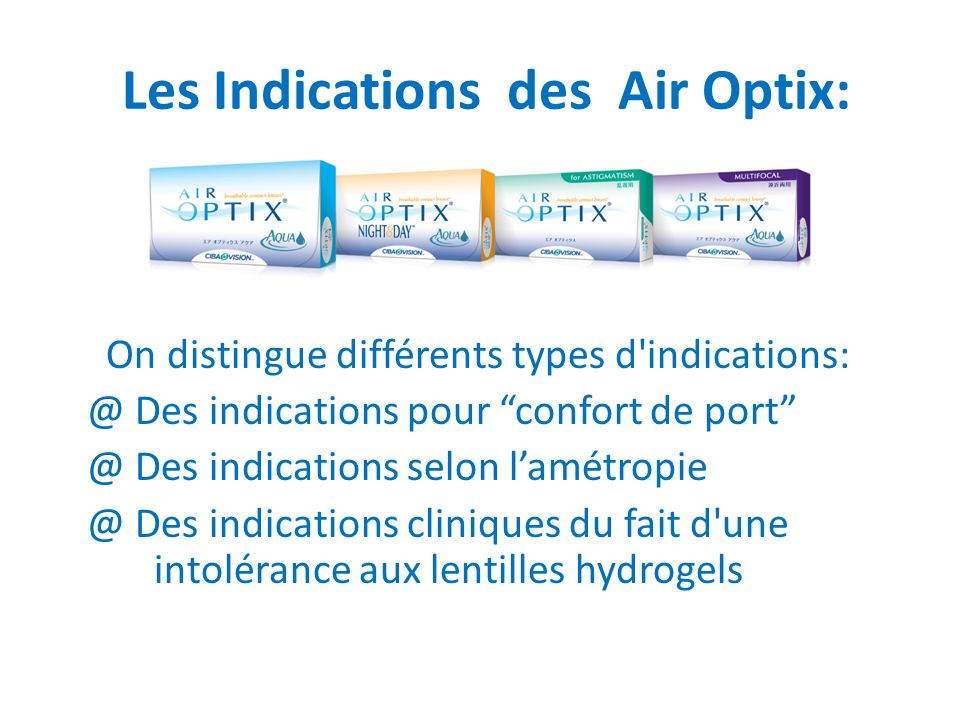 Les Indications des Air Optix: