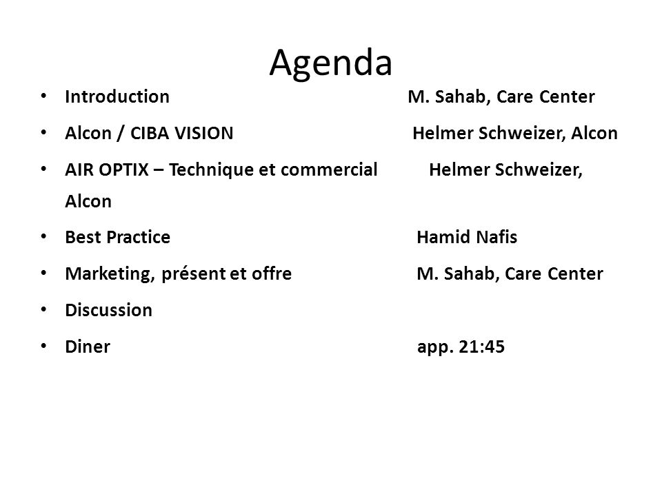 Agenda Introduction M. Sahab, Care Center