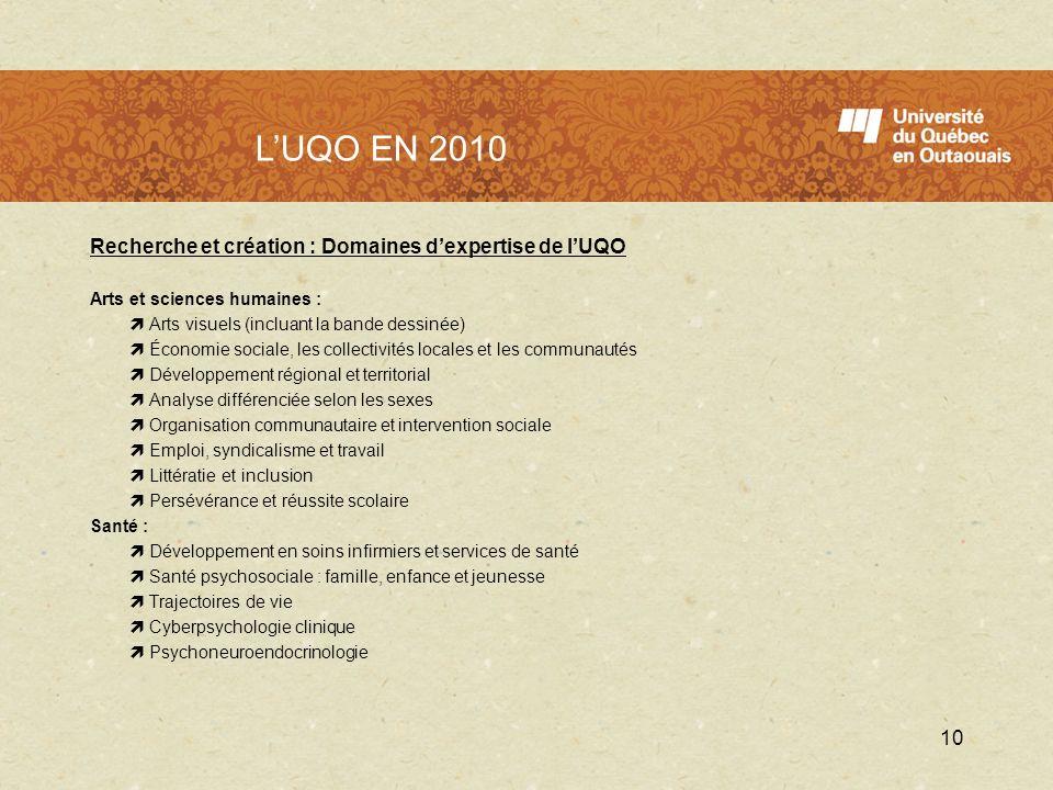 L'UQO en 2010 L'UQO EN 2010. Recherche et création : Domaines d'expertise de l'UQO. Arts et sciences humaines :