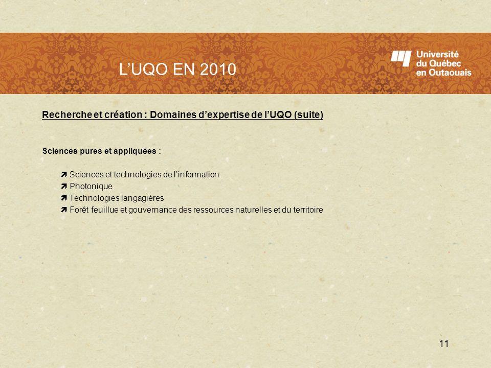 L'UQO en 2010 L'UQO EN 2010. Recherche et création : Domaines d'expertise de l'UQO (suite) Sciences pures et appliquées :