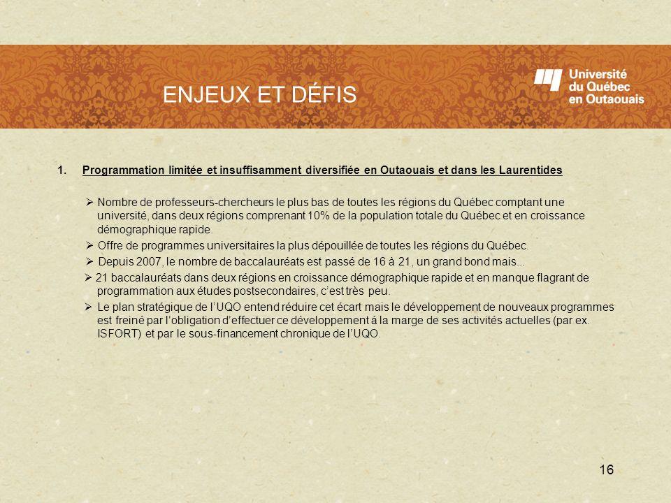 L'UQO en 2009 - 2010 ENJEUX ET DÉFIS