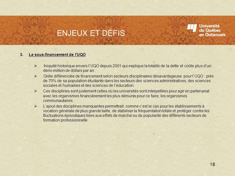 L'UQO en 2009 - 2010 ENJEUX ET DÉFIS 3. Le sous-financement de l'UQO