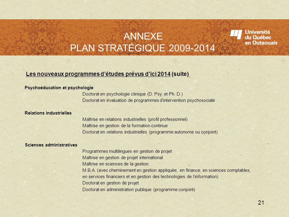 L'UQO en 2009 - 2010 ANNEXE PLAN STRATÉGIQUE 2009-2014