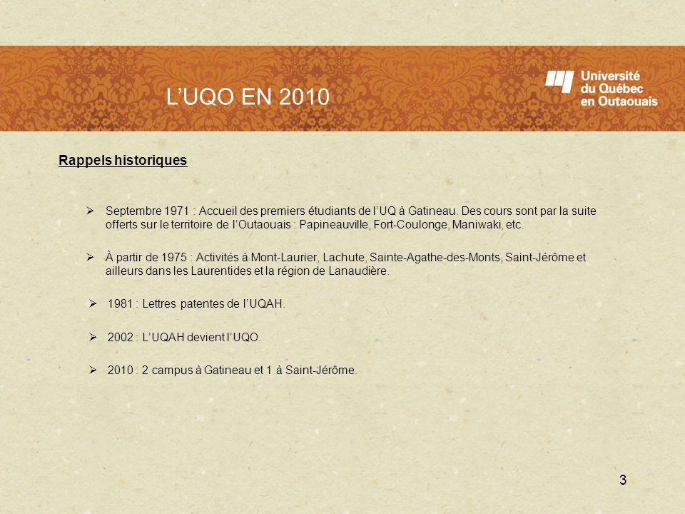 L'UQO en 2010 L'UQO EN 2010 Rappels historiques
