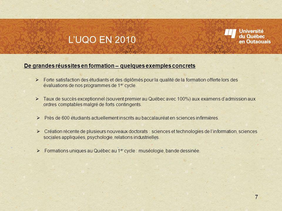 L'UQO en 2010 L'UQO EN 2010. De grandes réussites en formation – quelques exemples concrets.